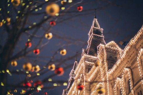 冬の夜の街並み
