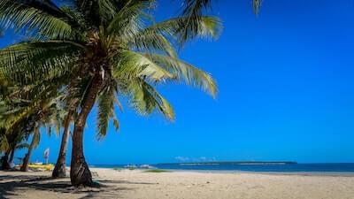 白い砂と青い空のビーチ