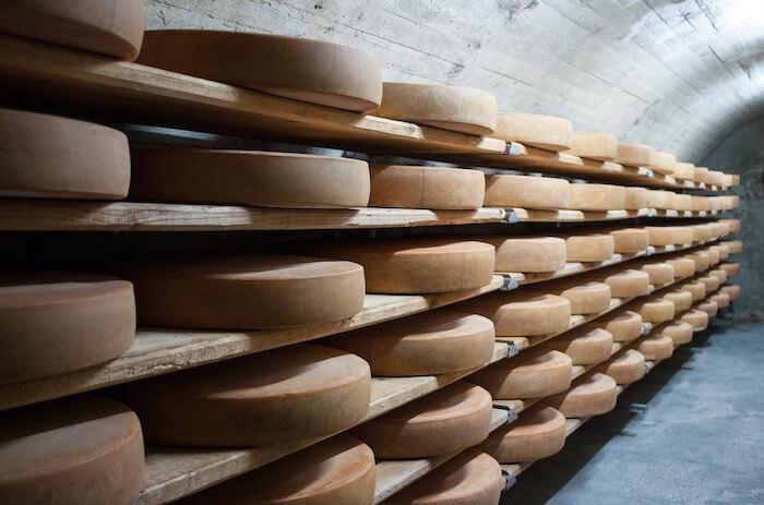蔵で熟成中のチーズ