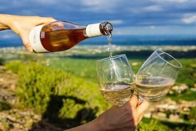 葡萄畑をバックに白ワイン