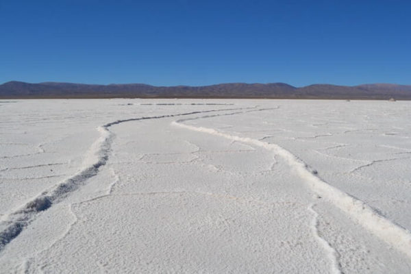 水が引いた塩湖