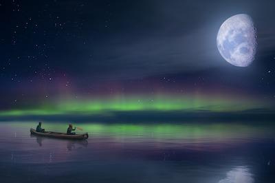 月明かりの虹