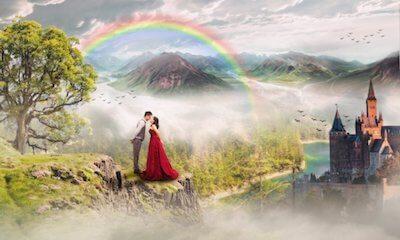 虹が描かれた風景画