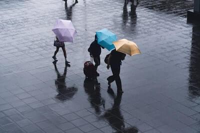 雨の中傘をさして歩く三人の人