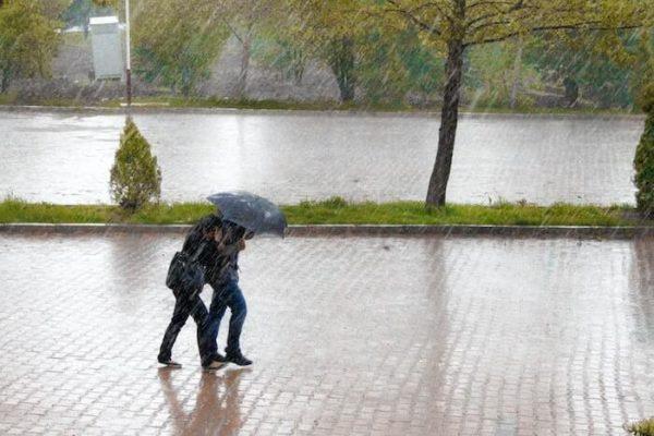 雨の中傘をさして歩く人