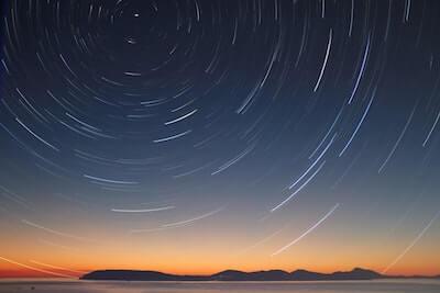 北極星を中心とした星の動き