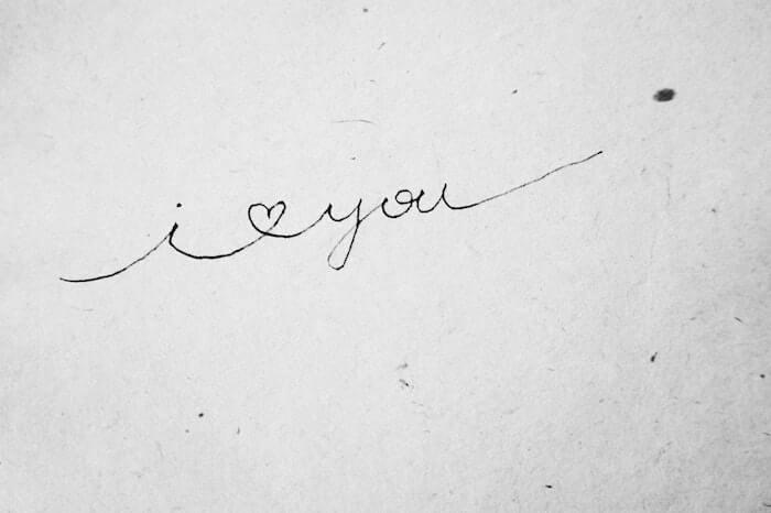 筆記体のI love you